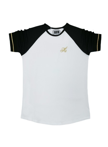 HENRY CLOTHING WHITE T-SHIRT WITH GOLD SLEEVE STRIPES