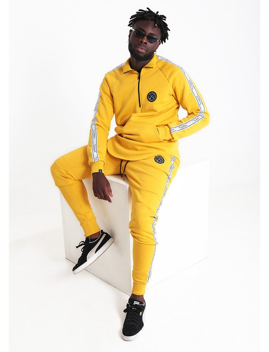 Vinyl tracksuit with taping yellow
