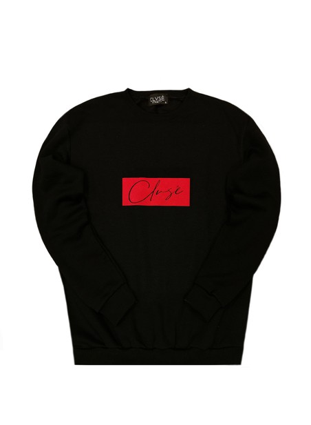CLVSE SOCIETY BLACK CREW NECK WITH RED SUEDE LOGO