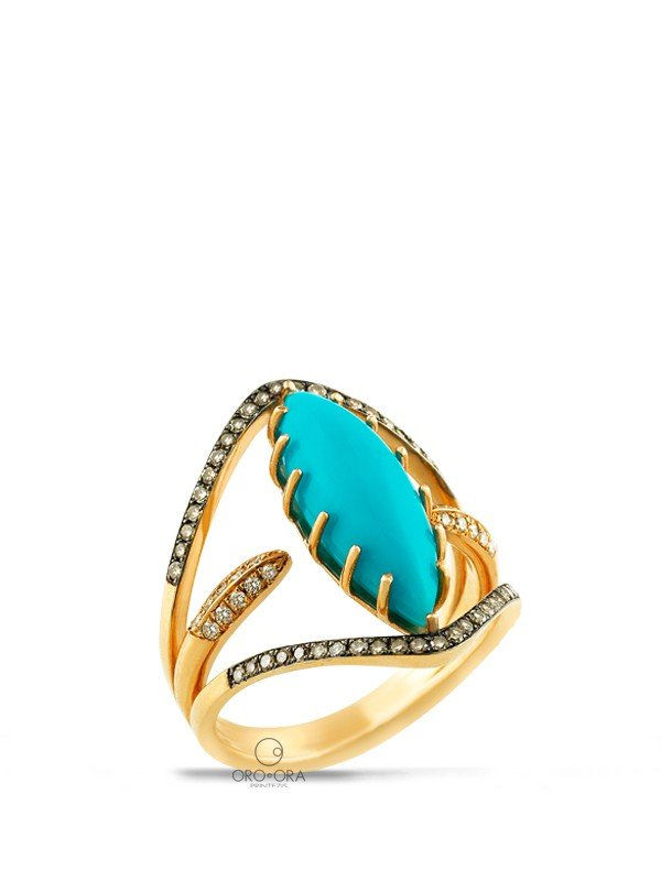 Ring Rose Gold K18 with Diamonds and Turquoise