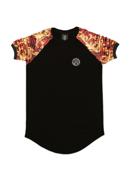 VINYL ART CLOTHING BLACK T-SHIRT WITH FLORAL SLEEVES
