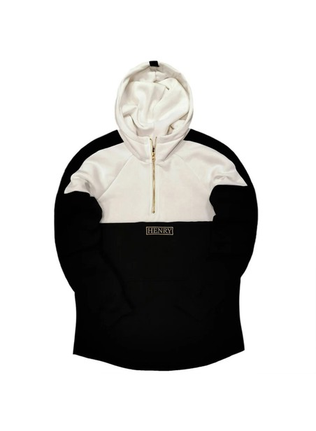 HENRY CLOTHING 1/4 ZIP BLACK AND WHITE HOODIE