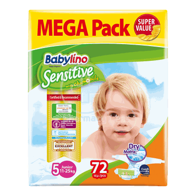 BABYLINO - MEGA PACK Babylino Sensitive Junior No5 (11-25 Kg) - 72 πάνες