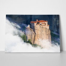 Beautiful misty layers mountains near meteora 489658177 a