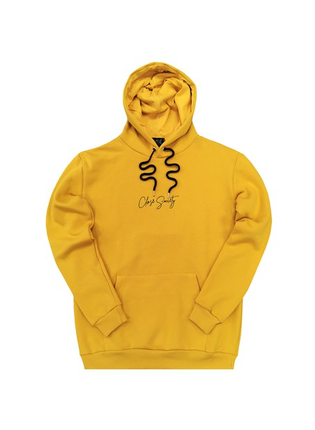 CLVSE SOCIETY YELLOW HOODIE WITH CENTER LOGO