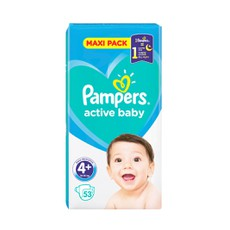 Pampers Active Baby Maxi Pack No 4+, 10-15Kg 53 Τμχ.