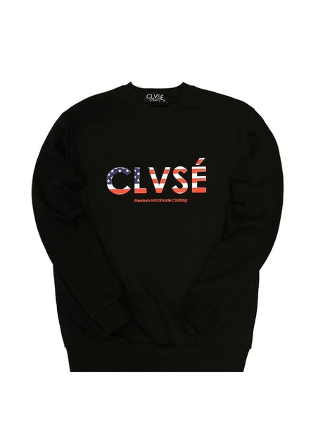 CLVSE SOCIETY BLACK CREW NECK WITH US LOGO