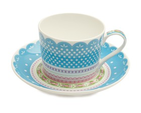 Maxwell & Williams Φλιτζάνι Καφέ & Πιατάκι Μπλε 250ml. Chantilly Lace Bone China