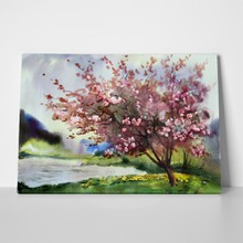 Watercolor painting landscape pink blooming spring tree 102991469 a