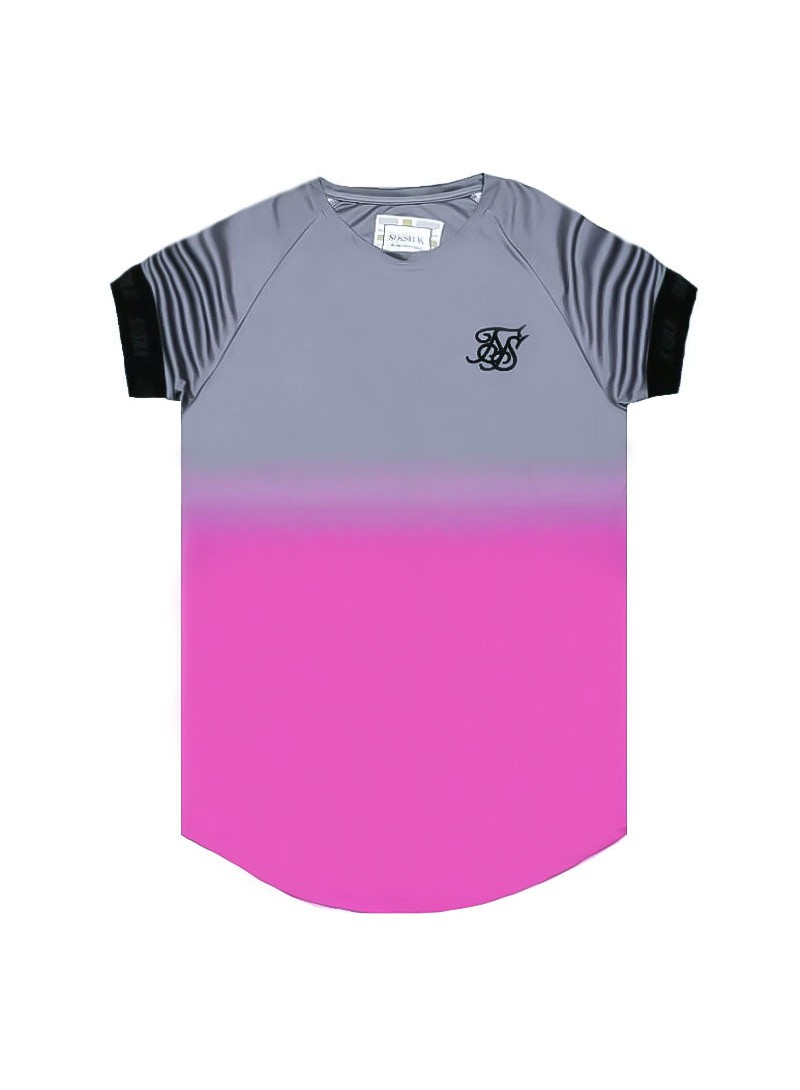 SikSilk S/S Fade Out Tech Tee - Grey & Pink