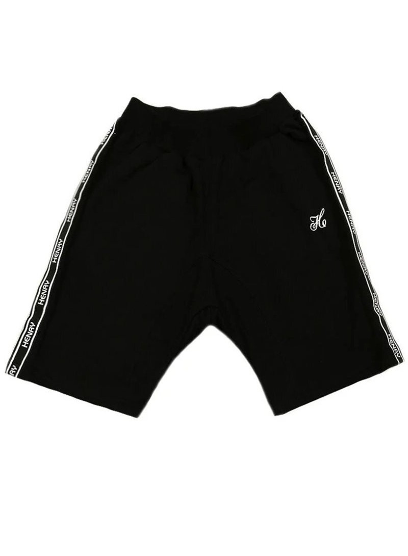 HENRY CLOTHING BLACK SIDE LINE SHORTS