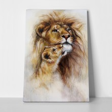 Airbrush painting loving lion 252703459 a