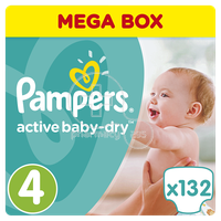 PAMPERS - MEGA BOX Active Baby Dry No4 (8-14kg) - 132 πάνες