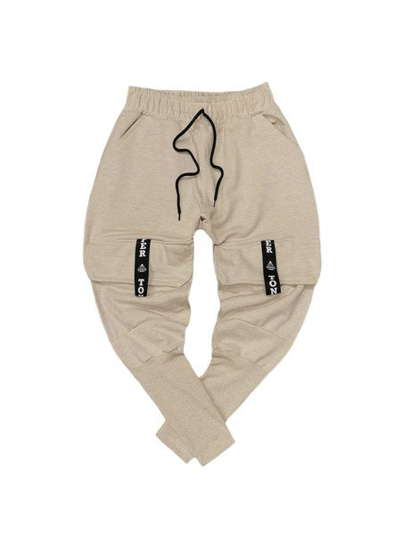 TONY COUPER BEIGE POCKET TRACKPANTS