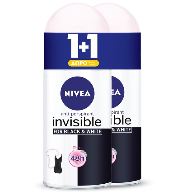 NIVEA DEO BLACK + WHITE CLEAR INVISIBLE ROLL-ON ΓΥΝΑΙΚΕΙΟ 50ML PR(1+1)