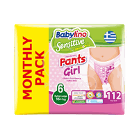 BABYLINO - MONTHLY PACK SENSITIVE Pants Girl No6 (16+kg) - 112 πάνες