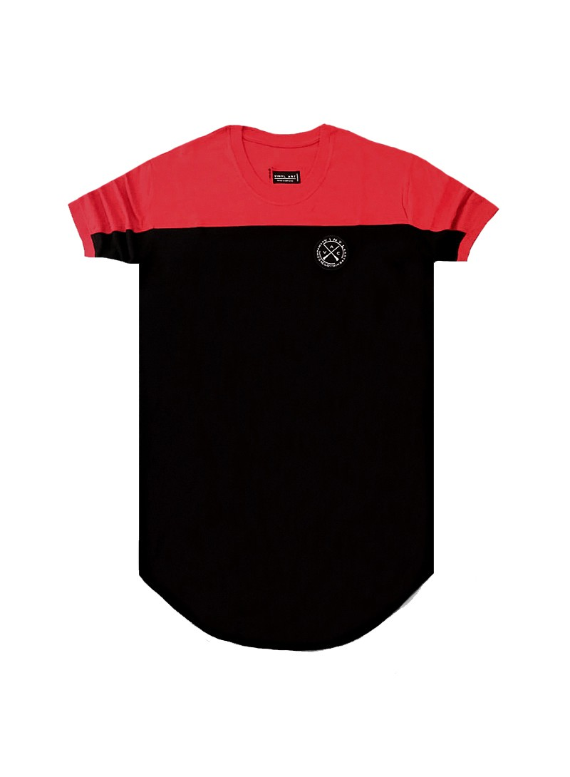 VINYL ART CLOTHING RED CONTRAST SHOULDER PANEL T-SHIRT