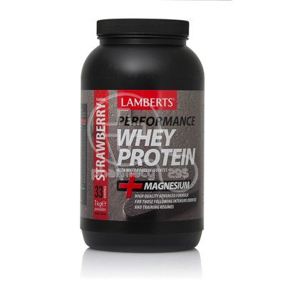 LAMBERTS - PERFORMANCE Whey Protein + Magnesium Strawberry Flavour - 1kgr
