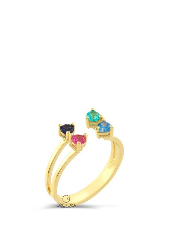Ring Gold K14 with Zircon