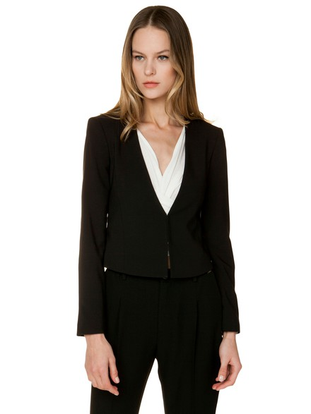 Crop crepe jacket