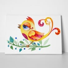 Colorful watercolor bird on flower 472700581 a
