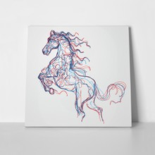 Running horse colored lines drawing 513736342 a