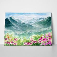Watercolor spring landscape 379371502 a