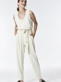HIGH WAIST TROUSERS WITH TIE BELT