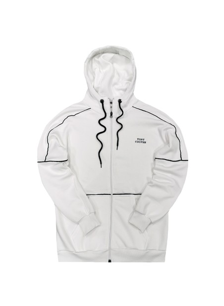 TONY COUPER WHITE BASIC ZIP THROUGH HOODIE