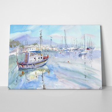 Yachts on sea watercolor light blue 1052104085 a