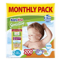BABYLINO - MONTHLY PACK Babylino Sensitive Mini No2 (3-6 Kg) - 200 πάνες