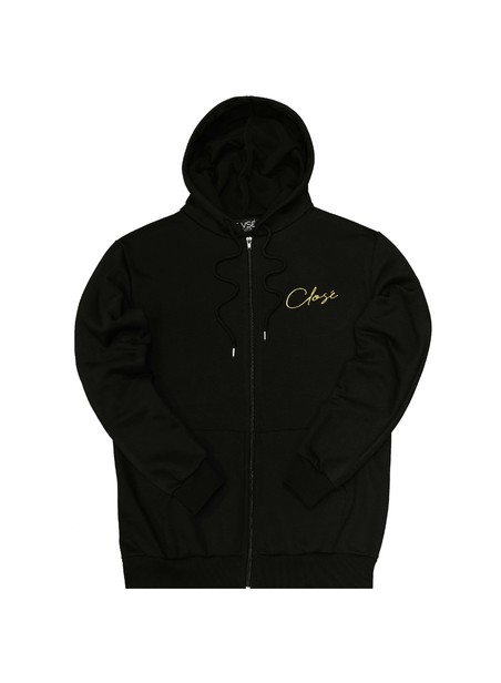 CLVSE SOCIETY BLACK ZIP THROUGH HOODIE WITH GOLD LOGO
