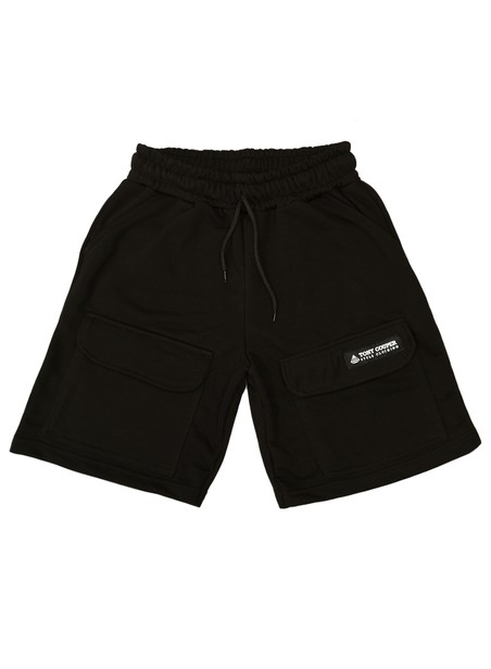 TONY COUPER BLACK CARGO EMBLEM SHORTS