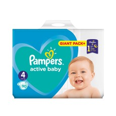 Pampers Active Baby Giant Pack No4, 9-14kg 90Τμχ.
