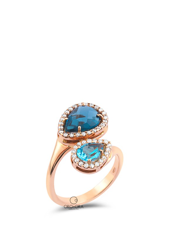 Ring Rose Gold K14 with Zircon, Blue Topaz and London Blue