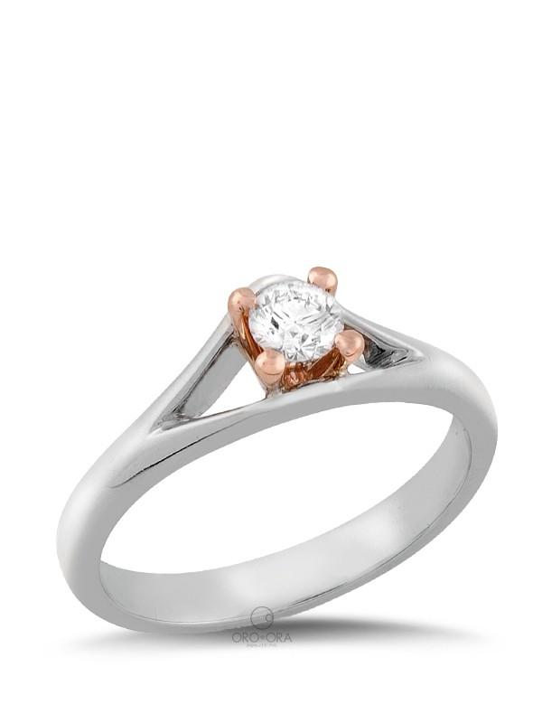Μονόπετρο Δαχτυλίδι Λευκόχρυσο-Ροζ Χρυσό Κ18 με Διαμάντι 0 b3a6c910bac