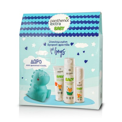PANTHENOL - PROMO PACK PANTHENOL EXTRA BABY Baby Shower and Shampoo (300ml), Body Milk (100ml) & Nappy Cream (100ml) ΜΕ ΔΩΡΟ Mini φωτιστικό νυκτός σε σχήμα δεινόσαυρου