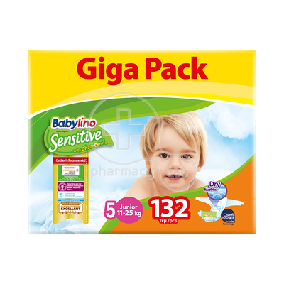 BABYLINO - GIGAPACK SENSITIVE Junior No5 (11-25kg) - 132 πάνες