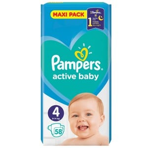 PAMPERS Active baby dry sleep πάνα για μωρά N4 9-14kg 58τεμάχια
