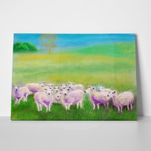 Lambs grazing on meadow 2 66719506 a