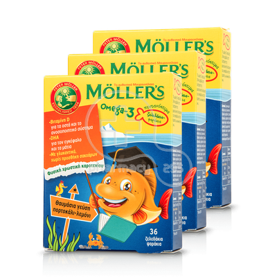 MOLLER'S - PROMO PACK 3 TEMAXIA Omega-3 - 3Χ36 fish jellies πορτοκάλι-λεμόνι