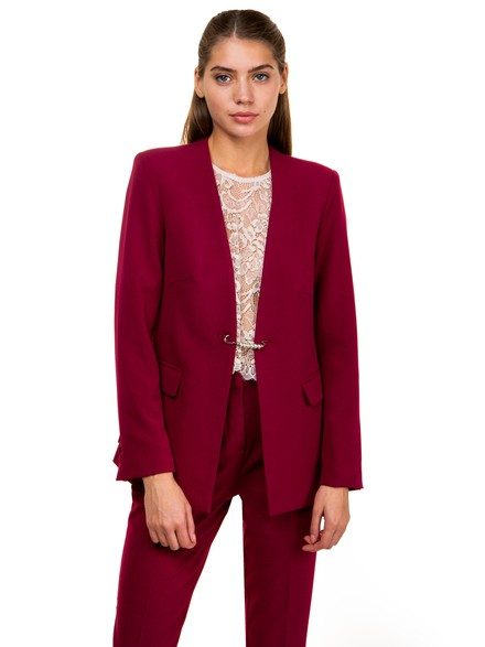 Blazer with pin closure
