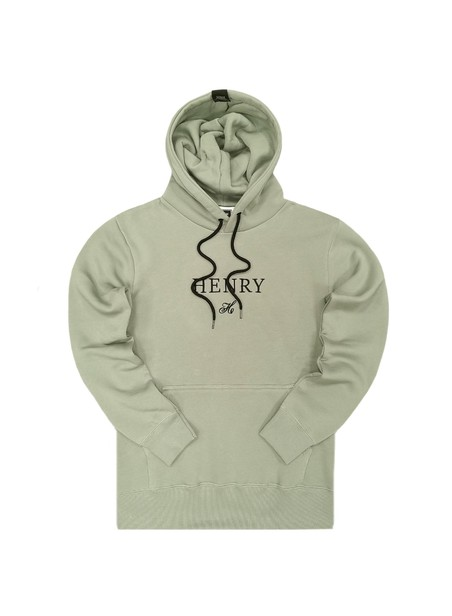 HENRY CLOTHING GREY HOODIE WITH CENTER LOGO
