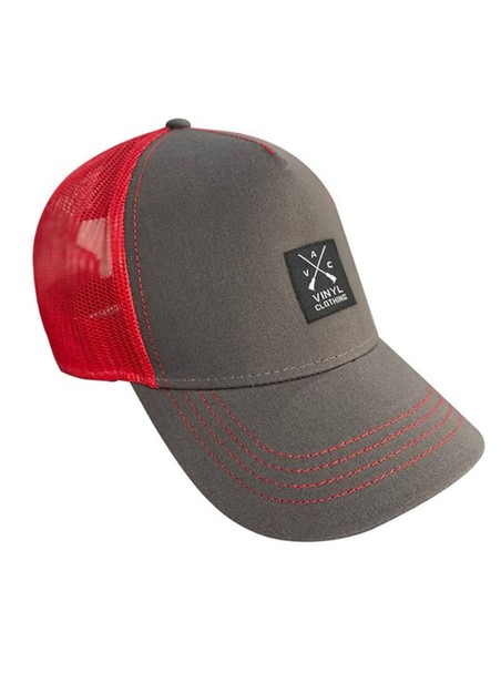 VINYL ART CLOTHING GREY/RED RAPPER CAP