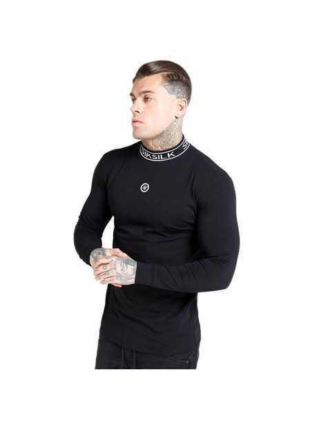 SikSilk L/S Branded High Collar Tee – Black
