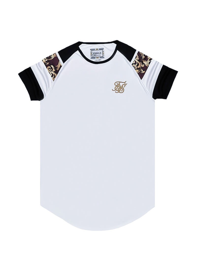 SikSilk Royal Venetian Sprint Tee - White, Black & Deep Red