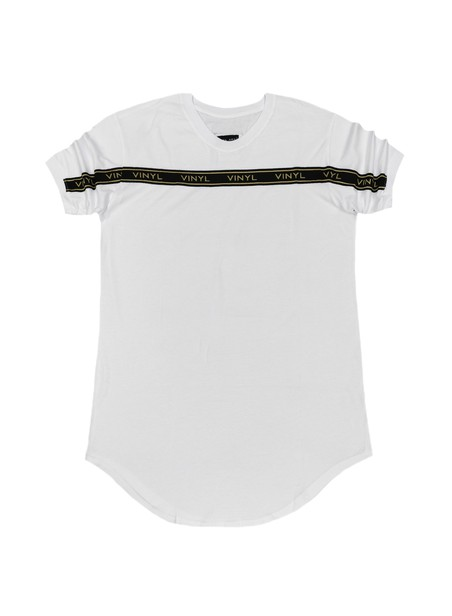 VINYL ART CLOTHING WHITE TAPED STRIPE T-SHIRT