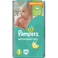 PAMPERS ACTIVE BABY-DRY No3 (5-9 KG) JUMBO PACK (68TEM)