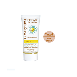 Coverderm Filteray Face Plus SPF50 Oily/Acneic Tinted Αντηλιακή Κρέμα Προσώπου & After Sun (2σε1) για Λιπαρές/Ακνεϊκές Επιδερμίδες , Απόχρωση Soft Brown, Για 3 τύπους ηλιακής ακτινοβολίας, UVA, UVB και IR, 50ml