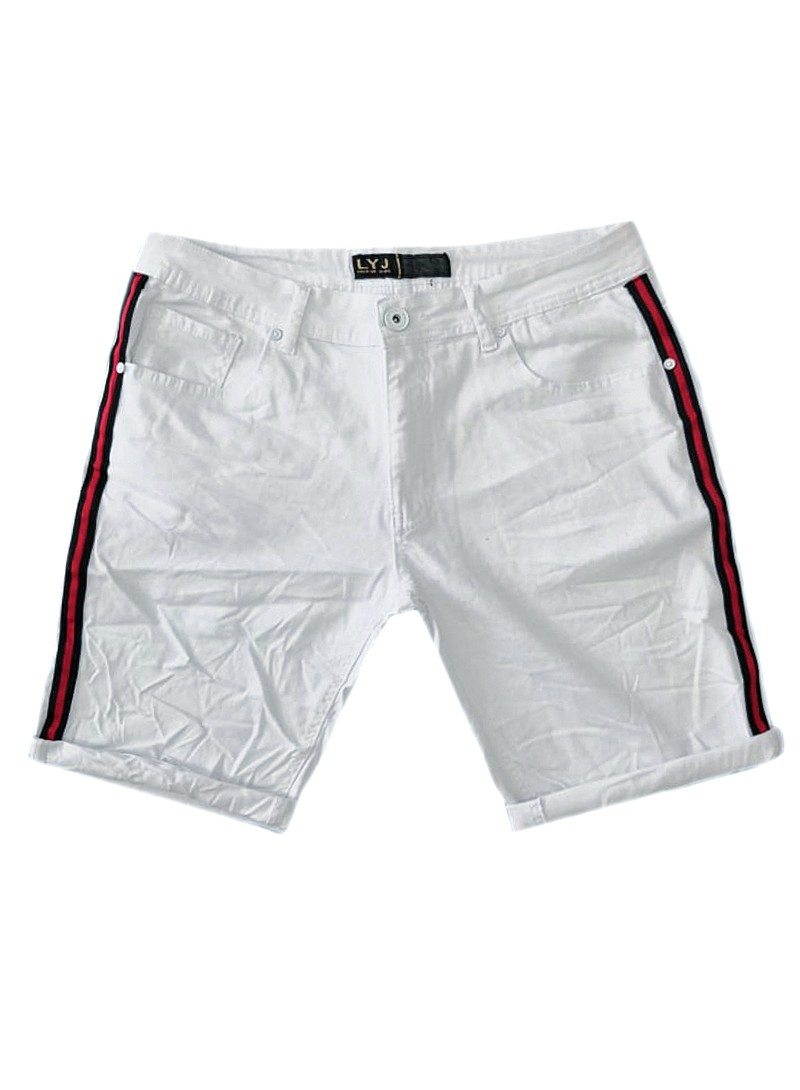 LEEYO WHITE JEANS SHORTS WITH RED LINE